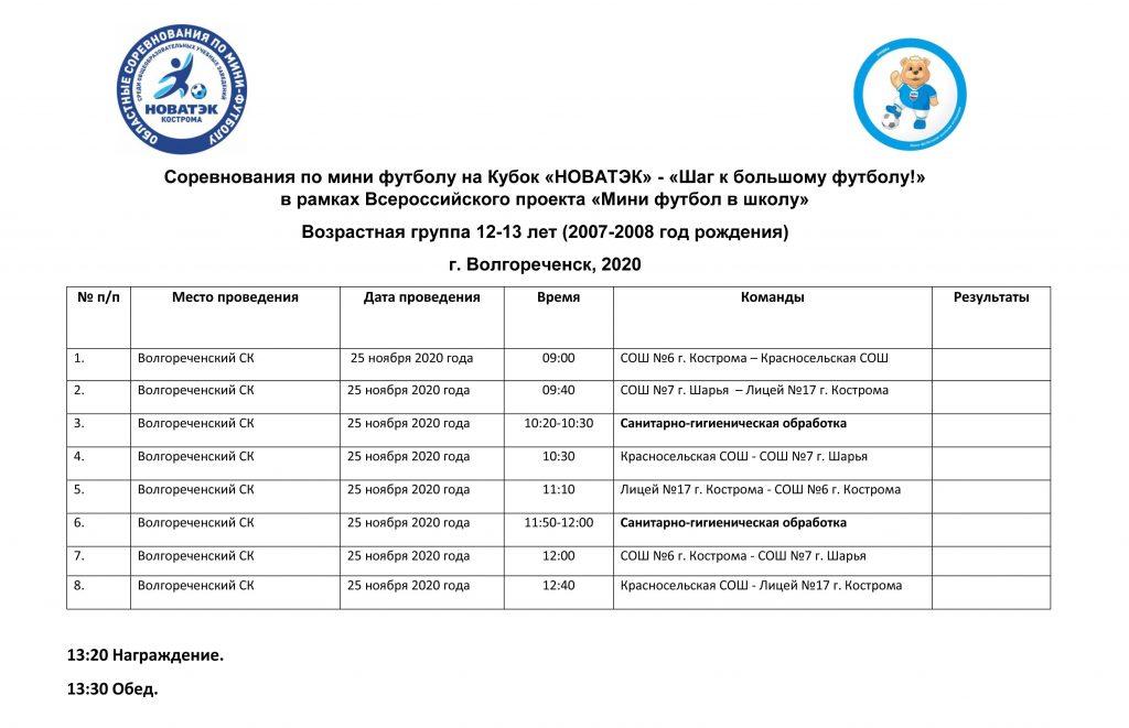 Расписание игр 25.11.2020г.  2007-2008 г
